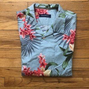 Tommy Bahama Blue Floral Print Shirt XL